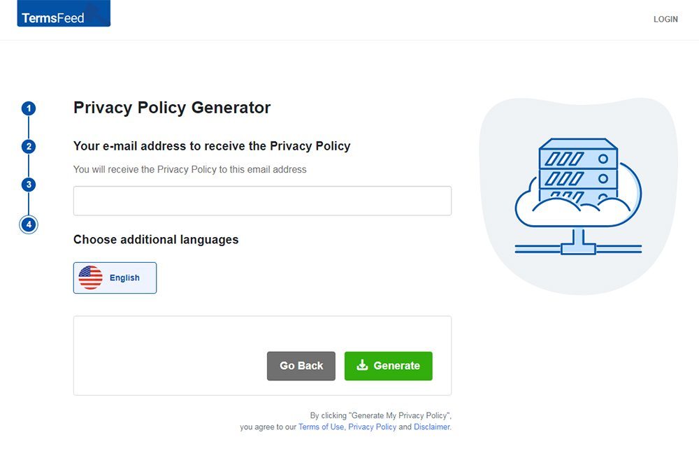TermsFeed Privacy Policy Generator: Enter your email address - Step 4