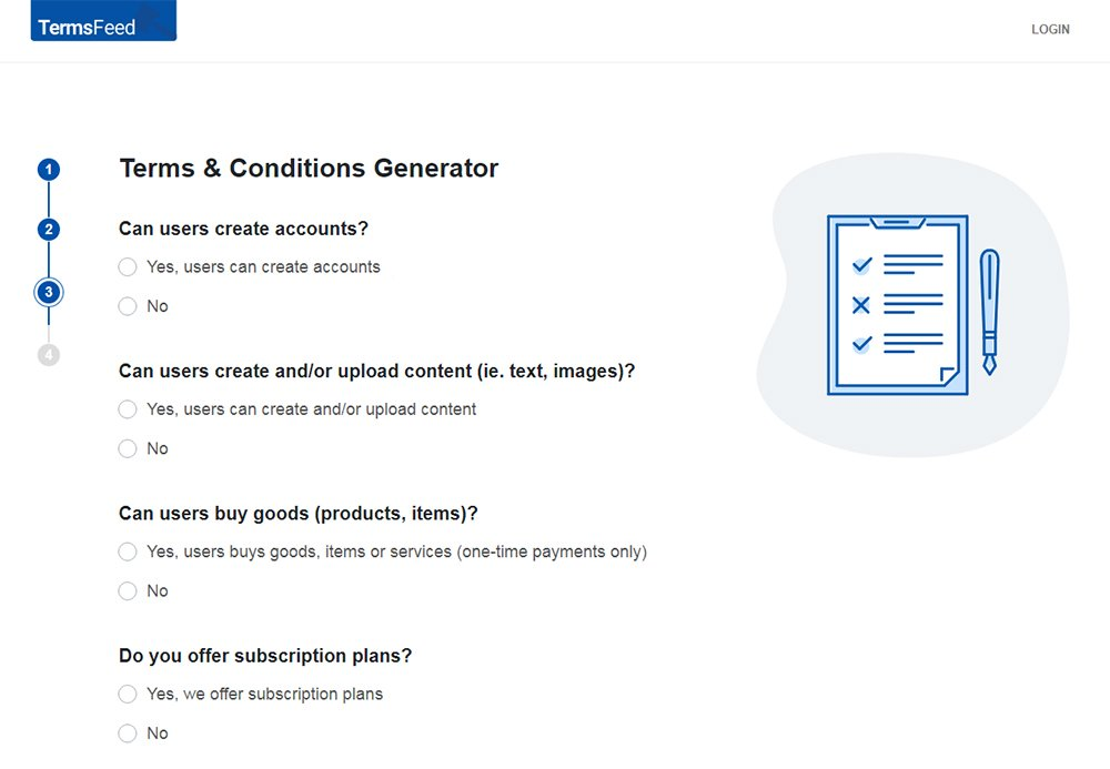 TermsFeed Terms and Conditions Generator: Answer questions about business practices - Step 3