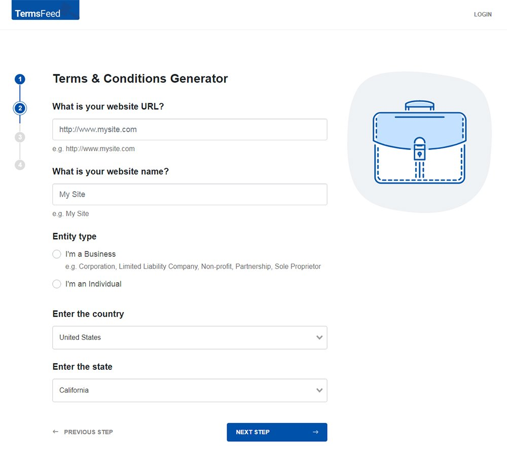 TermsFeed Terms and Conditions Generator: Answer questions about website - Step 2