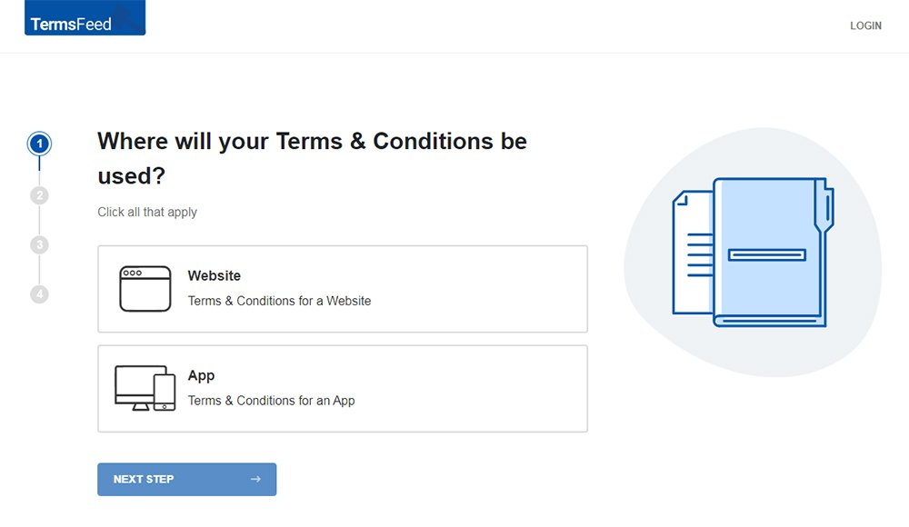 TermsFeed Terms and Conditions Generator: Create Terms and Conditions - Step 1