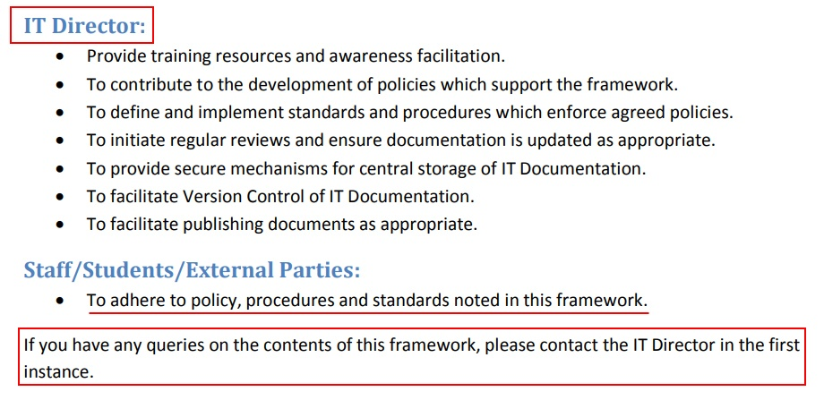 University College Cork IT Policy Framework: Roles and Responsibilities - IT Director, staff, students, external parties clauses