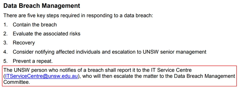 UNSW Sydney Data Breach Policy: Data Breach Management clause