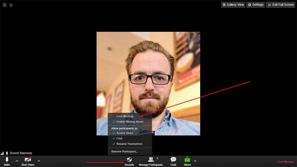 Zoom desktop: Security tab with Lock Meeting option highlighted