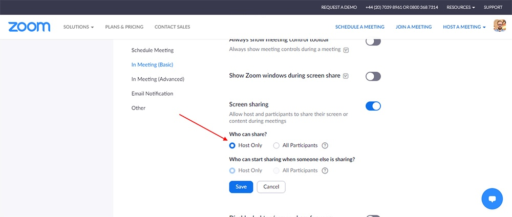 Zoom: In Meeting Basic - Share option highlighted