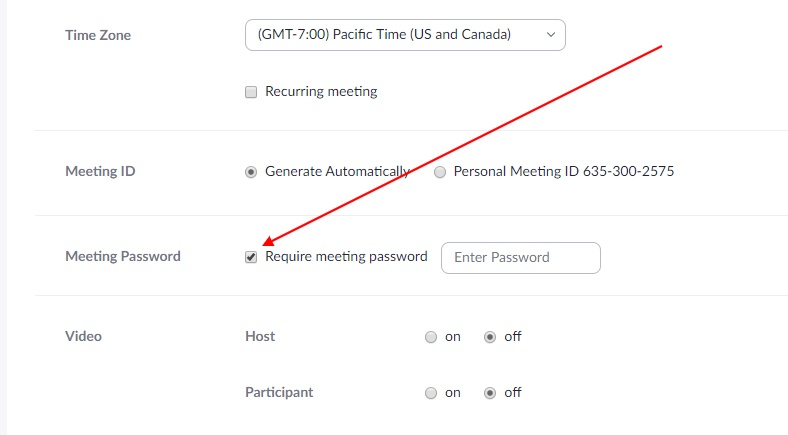 Zoom schedule meeting screen with Require Password highlighted