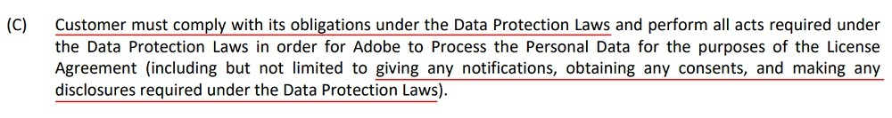 Adobe Data Protection Terms for Cloud Services: Privacy Obligations clause - Customer section