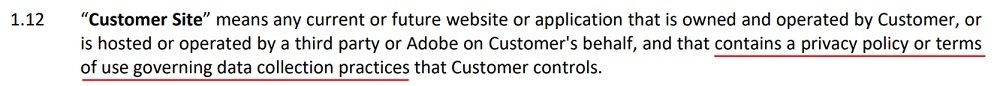 Adobe General Terms: Customer Site definition