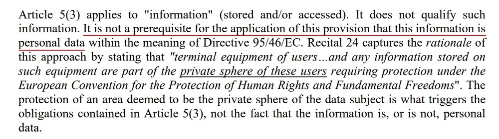 Article 29 Working Party Opinion 2 2010 on Behavioural Advertising: Substantive Scope of Application of Article 5 section 3 - Information