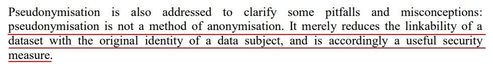 Article 29 Working Party Opinion on Anonymisation Techniques: Executive Summary - Pseudonymisation section
