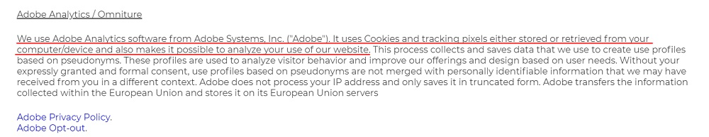 Brady Privacy Policy: Cookies clause - Adobe Analytics section