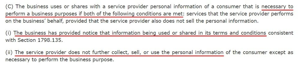 California Legislative Information: CCPA - Service Provider exemption to the definition of selling