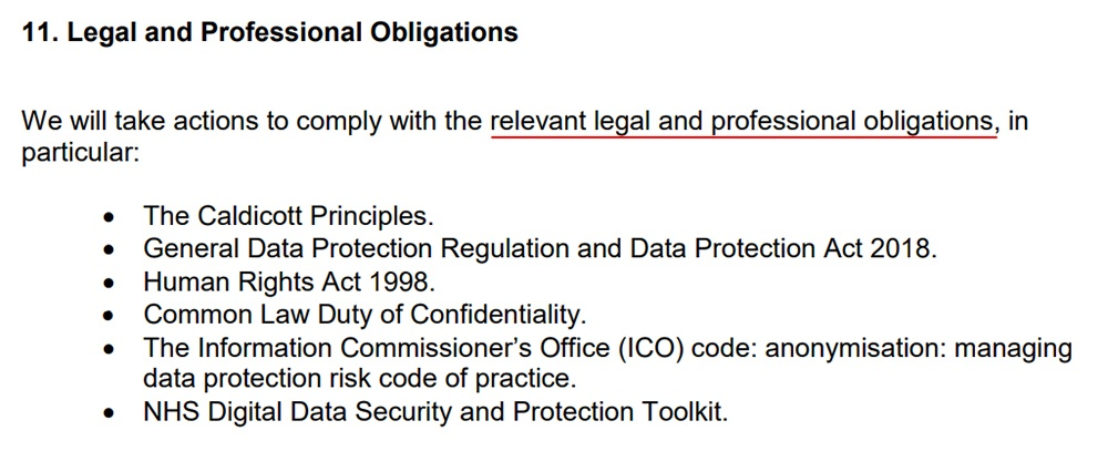 Cambridgeshire County Council: Pseudonymisation and Anonymisation Data Policy: Legal and Professional Obligations