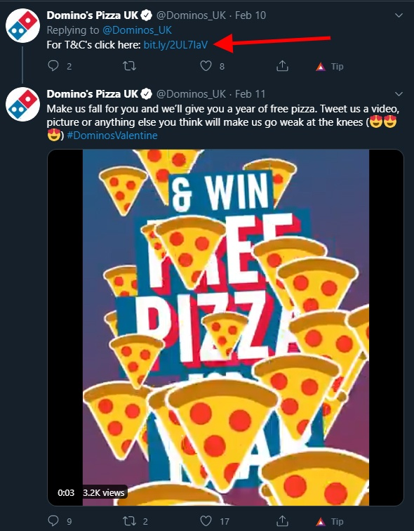 Dominos Pizza Twitter post with Terms and Conditions link