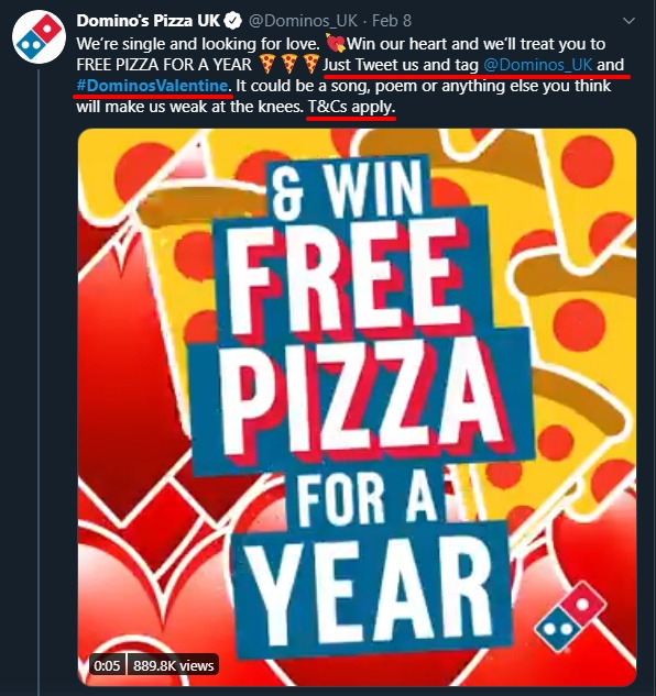 Dominos Pizza Twitter post of Valentine's contest