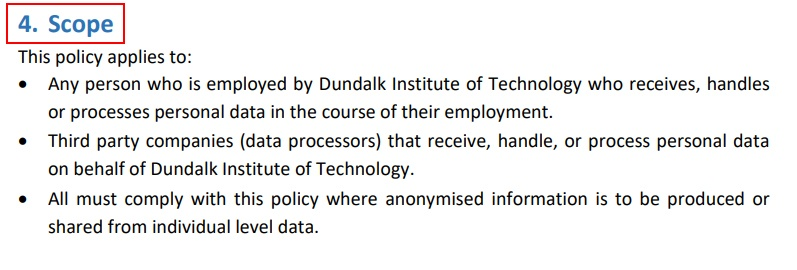 Dundalk Institute of Technology Anonymisation Pseudonymisation Policy: Scope clause