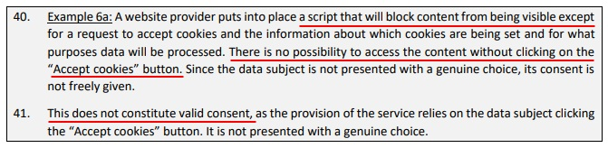 EDPB Guidelines on Consent Under the GDPR: Consent in cookie walls section - Example