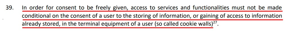 EDPB Guidelines on Consent Under the GDPR: Consent in cookie walls section