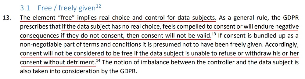 EDPB Guidelines on Consent Under the GDPR: Free and Freely given consent section