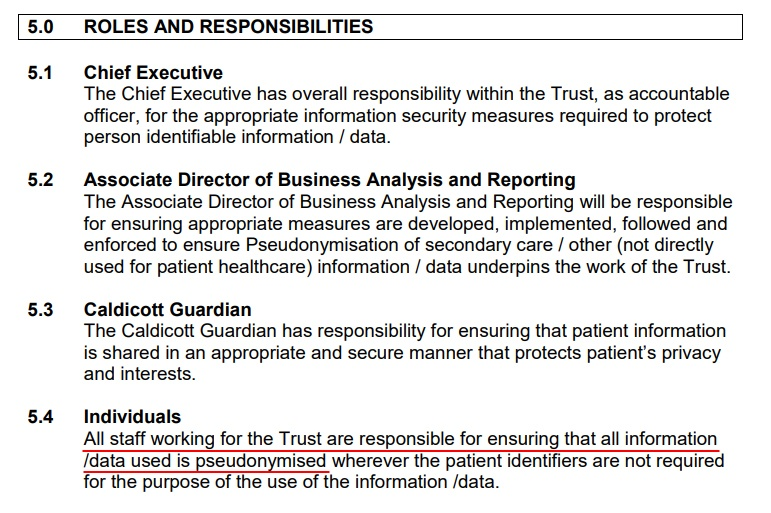 Essex Partnership University Pseudonymisation Policy: Roles and Responsibilities clause - Individuals section