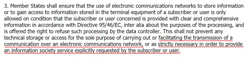 EUR-Lex ePrivacy Directive: Section 3 - Electronic communications and the purpose of processing