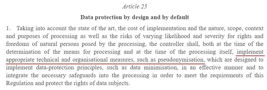 EUR-Lex Europa: GDPR Recital 25 - Data protection by design and by default