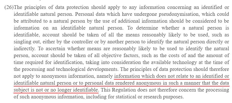 EUR-Lex Europa: GDPR Recital 26 - Definition of anonymous information