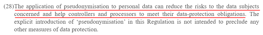 EUR-Lex Europa: GDPR Recital 28 - Application of pseudonymisation to reduce data subject risk