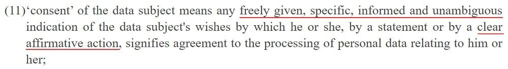 EUR-Lex GDPR: Article 4 - Definition of Consent