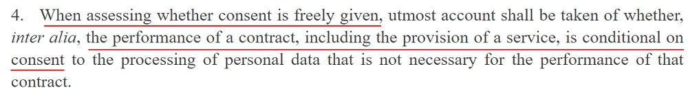 EUR-Lex GDPR: Article 7 Section 4 - Assessing whether consent is freely given