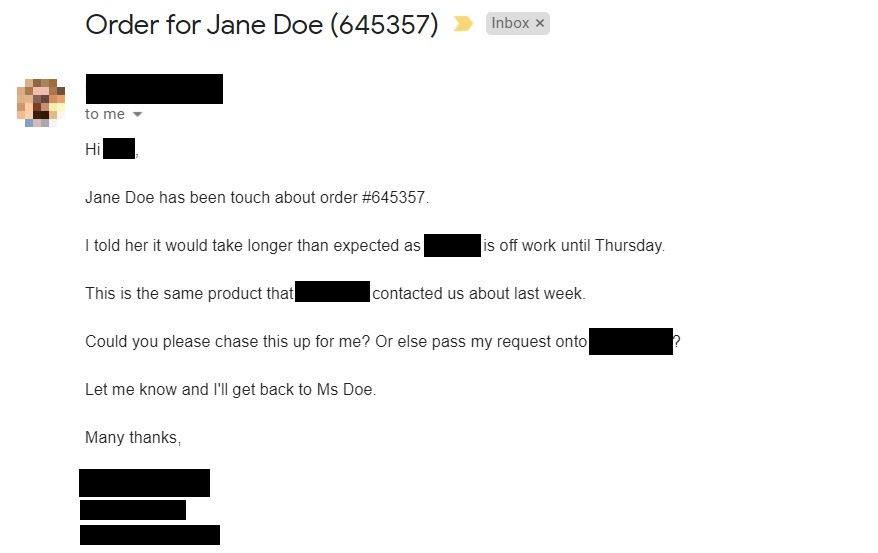 Example email with personal information redacted
