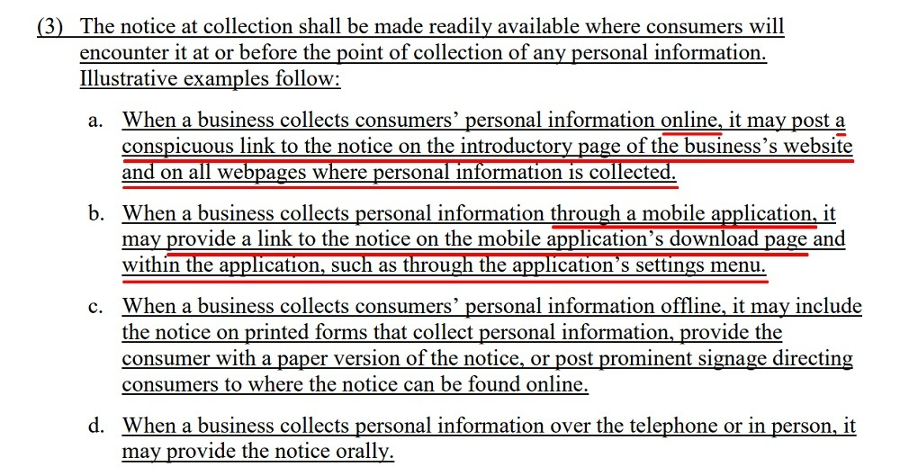 Final Text of Regulations: CCPA - Section 999 305 - Notice at Collection of Personal Information - Shall be readily available