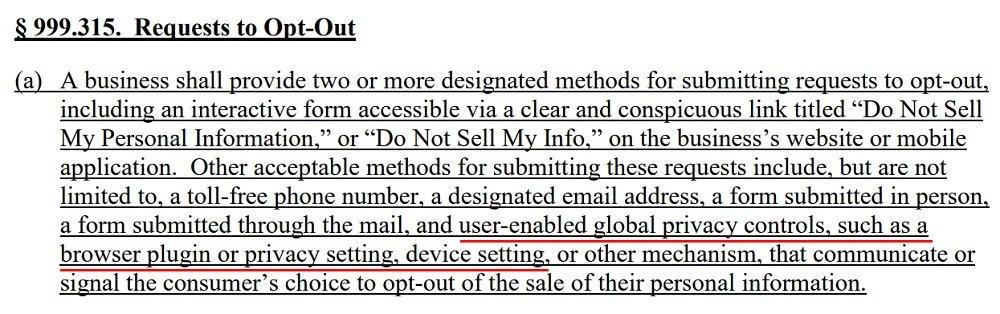 Final Text of Regulations: CCPA - Section 999 315 - Requests to Opt-Out