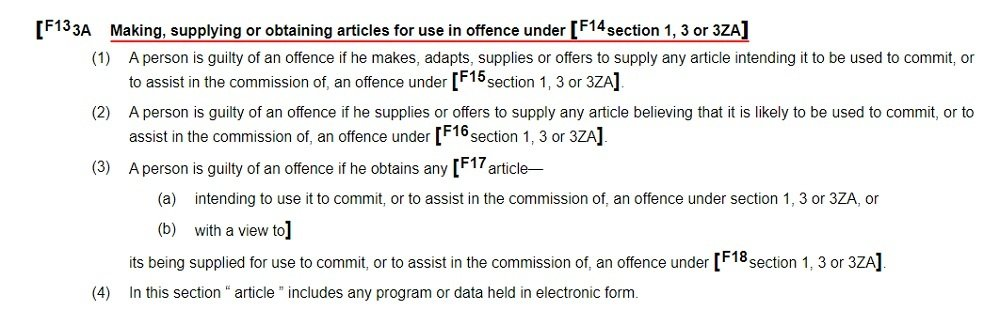 Legislation Gov UK: Computer Misuse Act 1990 - Section 3ZA: Making supplying or obtaining articles for use in offense under section 1 3 or 3ZA