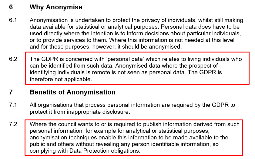 Luton Council Pseudonymisation and Anonymisation Policy: Why Anonymise and Benefits of Anonymisation clause