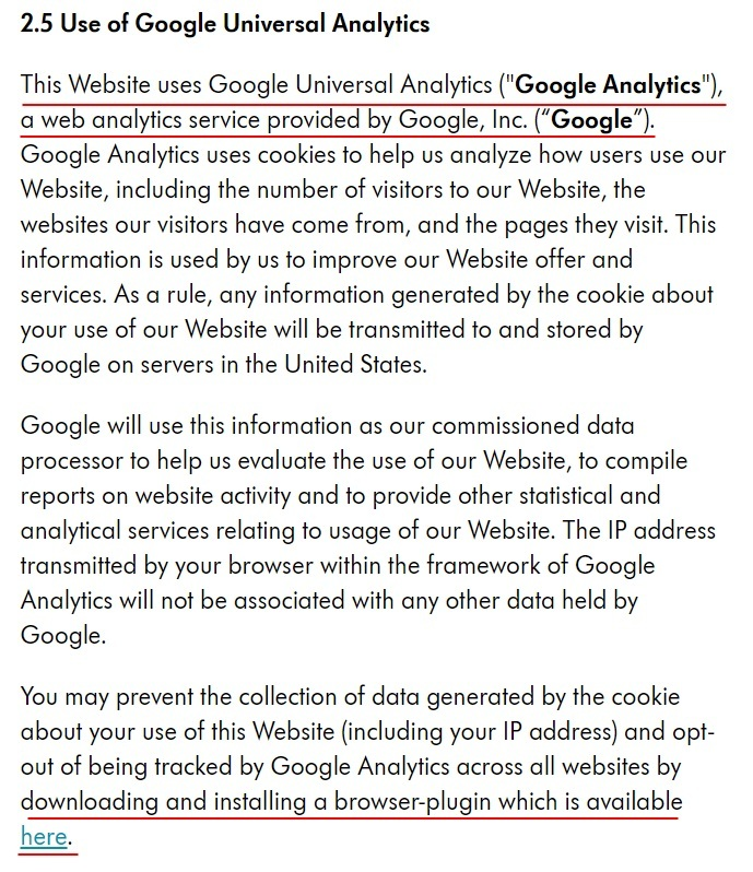Medela Privacy and Cookie Policy: Use of Google Universal Analytics clause