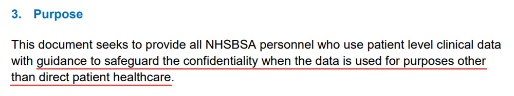 NHSBSA Pseudonymisation and Anonymisation of Data Policy: Purpose clause