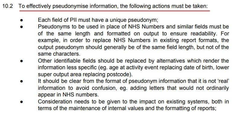 Northumberland County Council Anonymisation and Pseudonymisation Policy: Actions required to effectively pseudonymise information