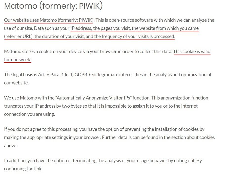 QHelp Privacy Policy: Matomo clause