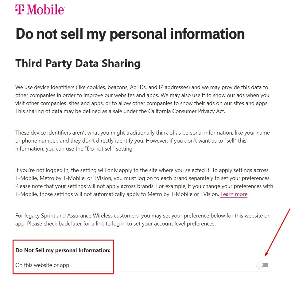 T-Mobile Do Not Sell page with On and Off toggle highlighted