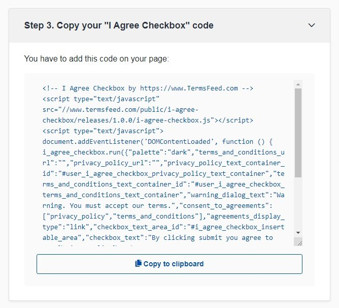 TermsFeed Free Tools: I Agree Checkbox - Copy your Code - Step 3