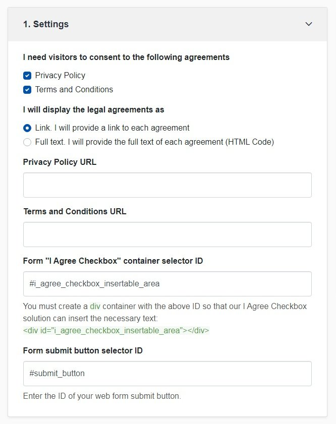 TermsFeed Free Tools: I Agree Checkbox - Settings - Step 1