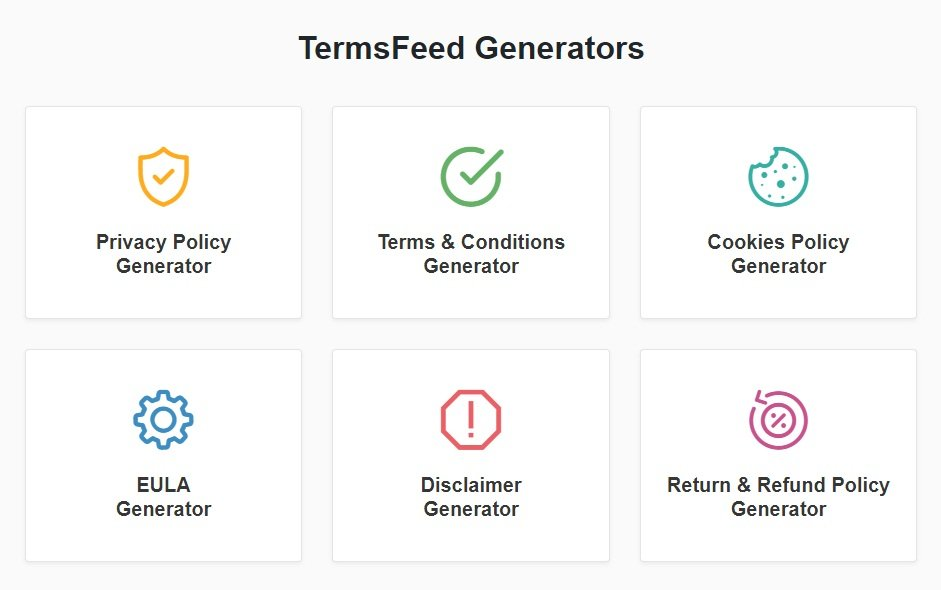 Screenshot of Intro page for TermsFeed Generators app