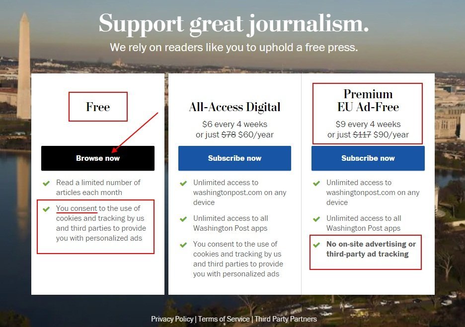 The Washington Post Cookie Paywall with Free and Premium options highlighted