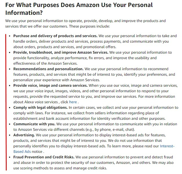 Amazon Privacy Notice: For What Purposes Does Amazon Use Your Personal Information clause