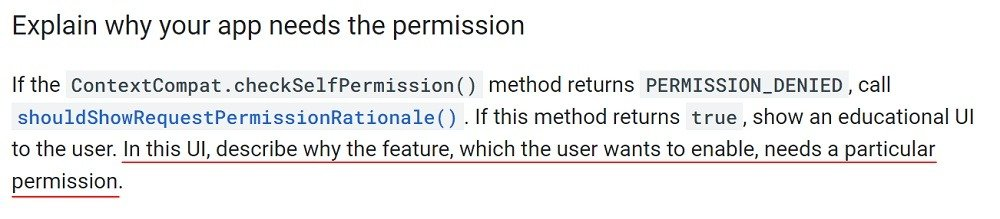 Android Developers Guides: Request App Permissions - Explain why your app needs permission section