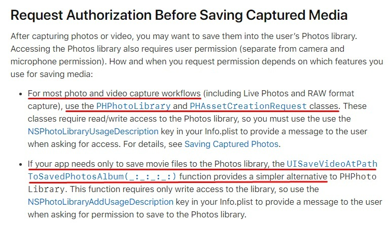 Apple Developer Documentation: Requesting Authorization for Media Capture - Request Authorization Before Saving Captured Media section
