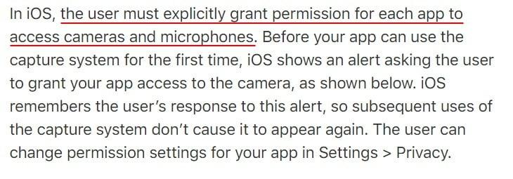 Apple Developer Documentation: Requesting Authorization for Media Capture - Explicit user permission section