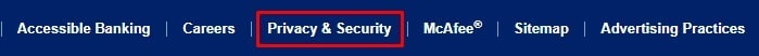 Bank of America website footer with Privacy and Security link highlighted