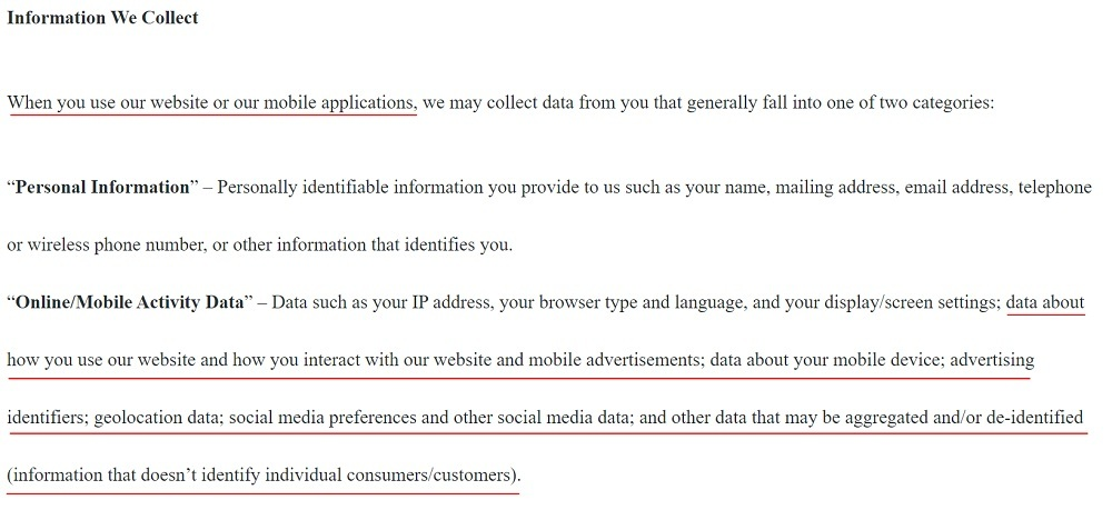 Bemit Privacy Policy: Information We Collect clause
