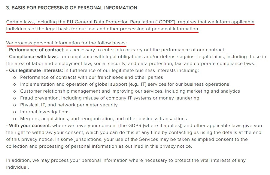 Berkshire Hathaway Privacy Policy: Basis for Processing of Personal Information clause